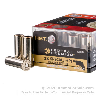 20 Rounds of 130gr HST JHP 38 Special +P Ammo by Federal
