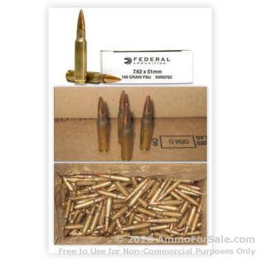 500  Rounds of 149gr FMJ .308 Win Ammo by Federal