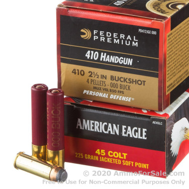 """70 Rounds of 225gr/2 1/2"""" JSP/000 Buck .45 Long-Colt/410 Gauge Ammo by Federal American Eagle Combo"""