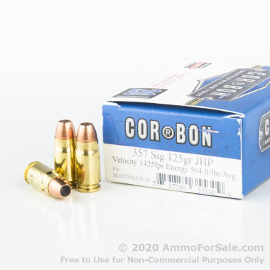 20 Rounds of 125gr JHP .357 SIG Ammo by Corbon