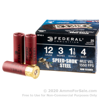 "25 Rounds of 3"" 1 1/8 ounce #4 shot 12ga Ammo by Federal Speed-Shok"