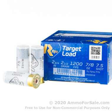 250 Rounds of 7/8 ounce #7.5 Shot 12ga Ammo by Rio