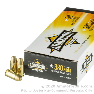 1000 Rounds of 95gr FMJ .380 ACP Ammo by Armscor