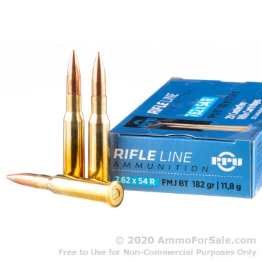 500  Rounds of 182gr FMJBT 7.62x54r Ammo by Prvi Partizan