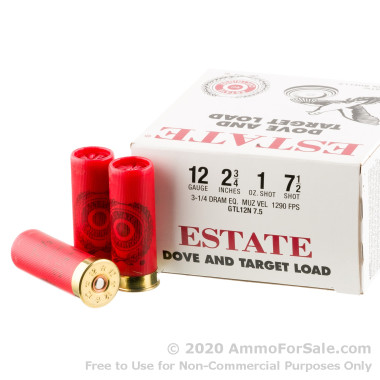 250 Rounds of 1 ounce #7 1/2 shot 12ga Ammo by Estate Cartridge