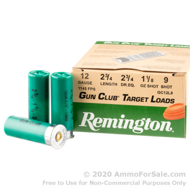 25 Rounds of 1 1/8 ounce #9 shot 12ga Ammo by Remington
