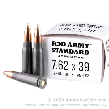 20 Rounds of 122gr FMJ 7.62x39 Ammo by Red Army Standard