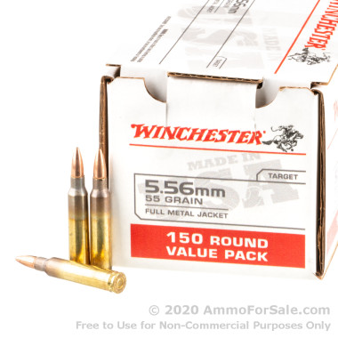 150 Rounds of 55gr FMJ 5.56x45 Ammo by Winchester
