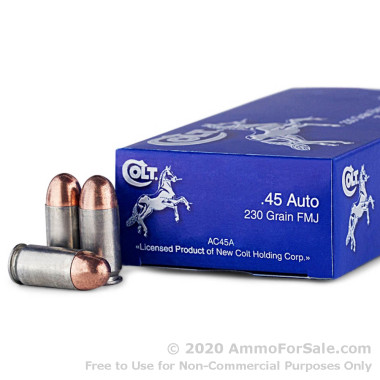 50 Rounds of 230gr FMJ .45 ACP Ammo by Colt