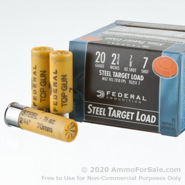250 Rounds of 7/8 ounce #7 Shot (Steel) 20ga Ammo by Federal