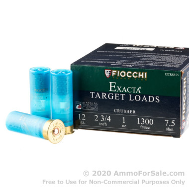 """250 Rounds of 2-3/4"""" 1 ounce #7 1/2 shot 12ga Ammo by Fiocchi Crusher"""
