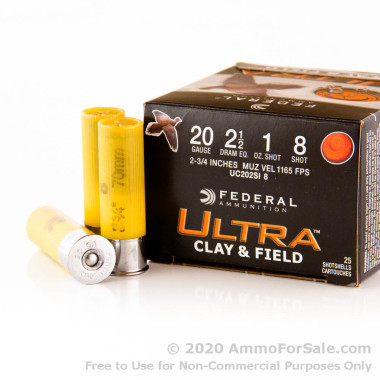 """250 Rounds of 2-3/4"""" 1 ounce #8 shot 20ga Ammo by Federal Ultra Clay & Field"""