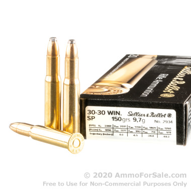 20 Rounds of 150gr SP 30-30 Win Ammo by Sellier & Bellot