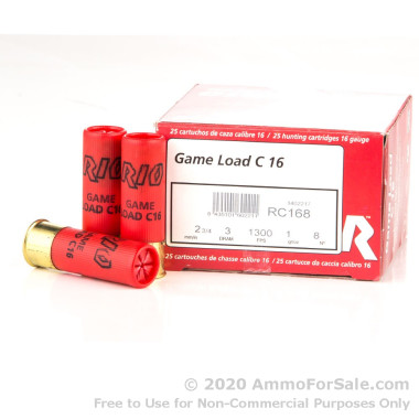 25 Rounds of 1 ounce #8 Shot 16ga Ammo by Rio Ammunition