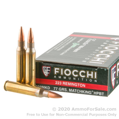 20 Rounds of 77gr HPBT Sierra Match King .223 Ammo by Fiocchi