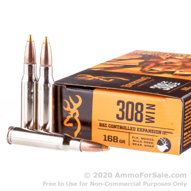 308 - 168 Grain Brass Tip Boat tail - Browning BXC Upland Game - 20 Rounds