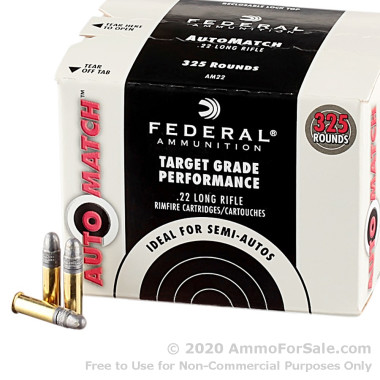 325 Rounds of 40gr LRN .22 LR Ammo by Federal