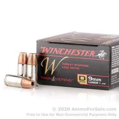 20 Rounds of 147gr JHP 9mm Ammo by Winchester W Train and Defend