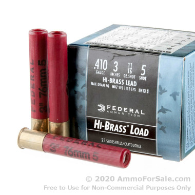 """25 Rounds of 3"""" 11/16 ounce #5 shot .410 Ammo by Federal Game-Shok"""