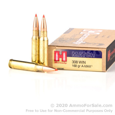 20 Rounds of 168gr Match A-MAX .308 Win Ammo by Hornady
