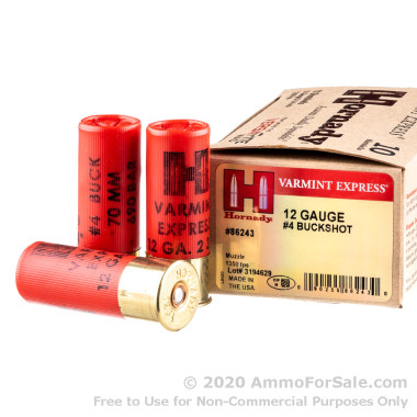 10 Rounds of  #4 Buck 12ga Ammo by Hornady