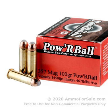 20 Rounds of 100gr PowR Ball .357 Mag Ammo by Corbon