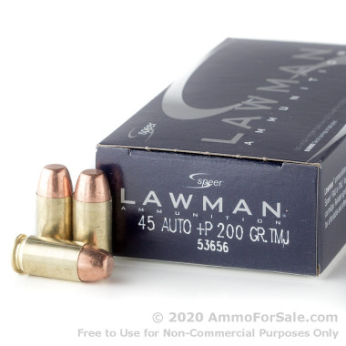 1000 Rounds of 200gr TMJ +P .45 ACP Ammo by Speer