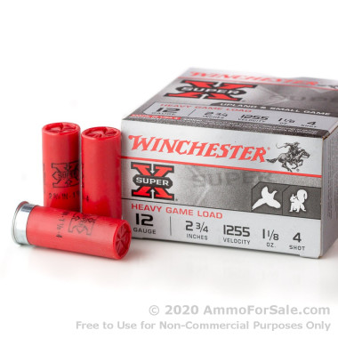 25 Rounds of 1 1/8 ounce #4 heavy game 12ga Ammo by Winchester Super-X