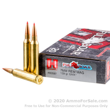 20 Rounds of 139gr GMX 7mm Rem Mag Ammo by Hornady