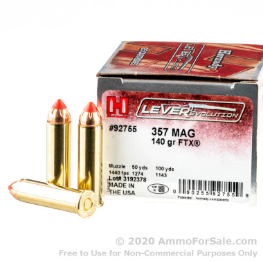 250 Rounds of 140gr FTX .357 Mag Ammo by Hornady