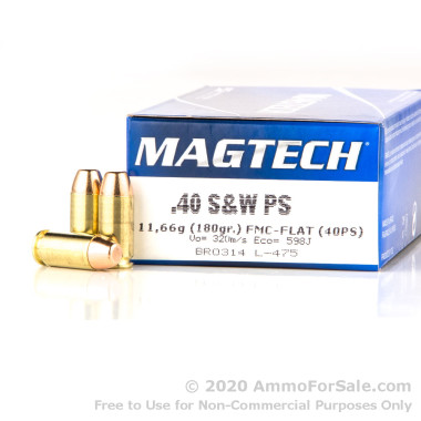 50 Rounds of 180gr FMJ .40 S&W Ammo by Magtech