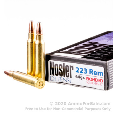 20 Rounds of 64gr Bonded Flat Base SP .223 Ammo by Nosler Defense Ammunition