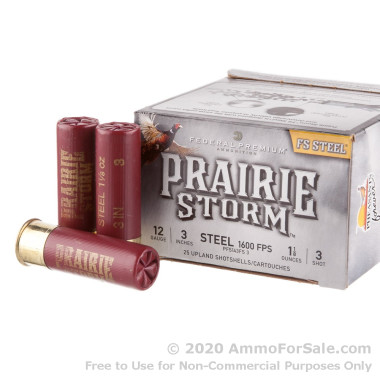 25 Rounds of 1 1/8 ounce #3 shot 12ga Ammo by Federal