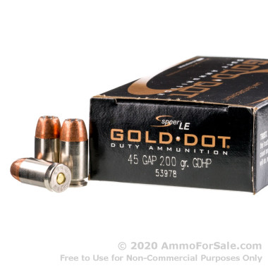 50 Rounds of 200gr JHP .45 GAP Ammo by Speer