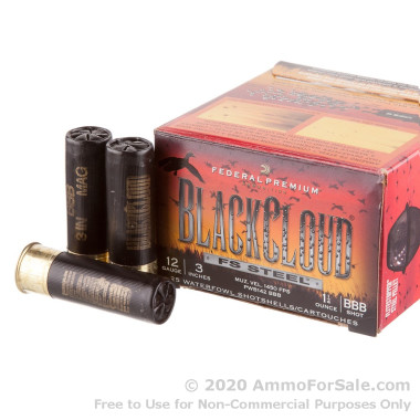 "25 Rounds of 3"" 1 1/4 ounce BBB Shot 12ga Ammo by Federal BlackCloud"