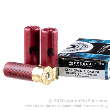 5 Rounds of 000 Buck 12ga Ammo by Federal