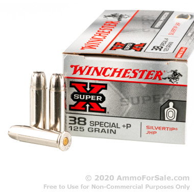 500  Rounds of +P 125gr JHP .38 Spl Ammo by Winchester Silvertip