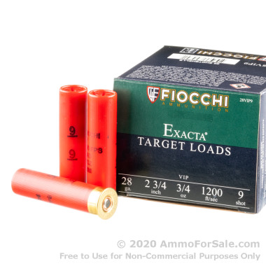 250 Rounds of 3/4 ounce #9 shot 28ga Ammo by Fiocchi