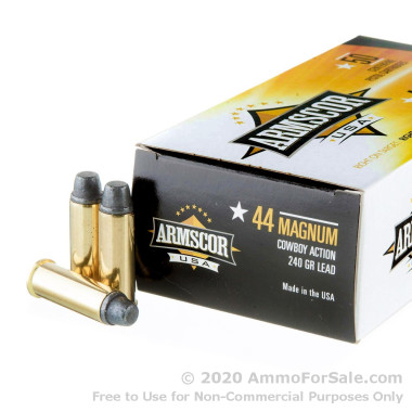 400 Rounds of 240gr Semi-Wadcutter Cowboy Action .44 Mag Ammo by Armscor USA