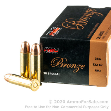 50 Rounds of 132gr FMJ .38 Spl Ammo by PMC