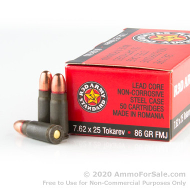 50 Rounds of 86 Grain FMJ 7.62 Tokarev Ammo by Red Army Standard