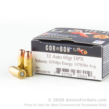 20 Rounds of 60gr DPX .32 ACP Ammo by Corbon