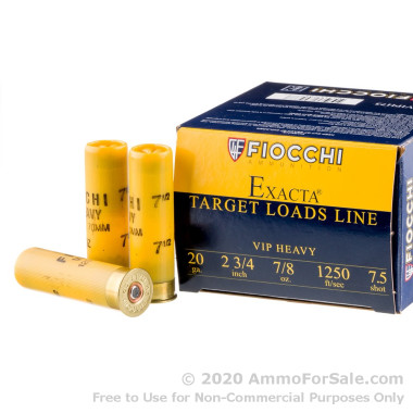 250 Rounds of 7/8 ounce #7 1/2 shot 20ga Ammo by Fiocchi