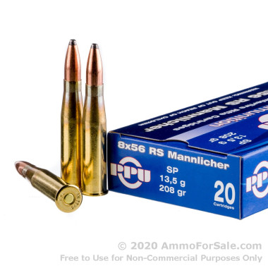500  Rounds of 208gr SP 8x56mm RS Mannlincher Ammo by Prvi Partizan