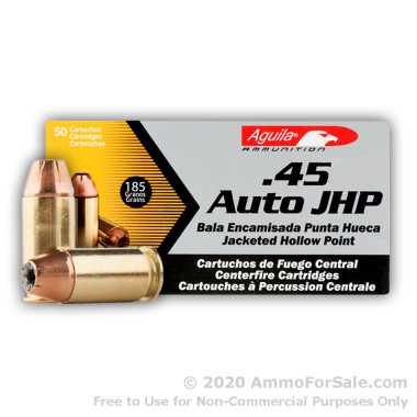 50 Rounds of 185gr JHP .45 ACP Ammo by Aguila