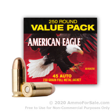 250 Rounds of 230gr FMJ .45 ACP Ammo by Federal