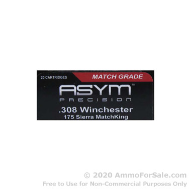 20 Rounds of 175gr HPBT .308 Win Ammo by ASYM Precision Ammunition