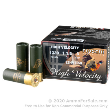 250 Rounds of 1-1/5 oz. #8 shot 12ga Ammo by Fiocchi