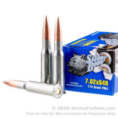 500  Rounds of 174gr FMJ 7.62x54r Ammo by Silver Bear