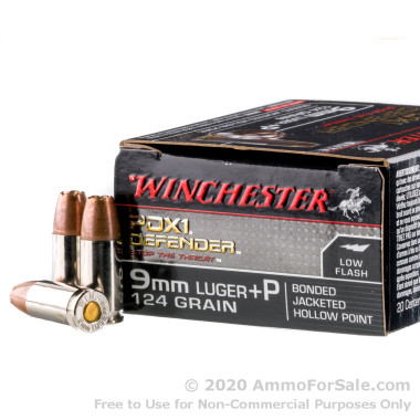 20 Rounds of 124gr +P JHP 9mm Ammo by Winchester